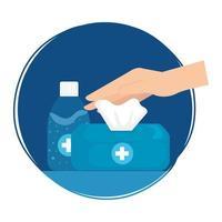 Hände Desinfektionsflasche und Taschentuchbox Vektor-Design