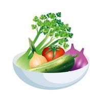 Sellerie Knoblauch Zwiebel Gurke und Tomatengemüse Vektor-Design vektor