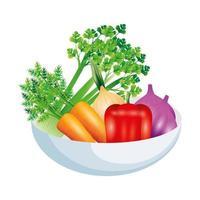 Sellerie Knoblauch Karotte Pfeffer und Zwiebel Gemüse Vektor-Design vektor