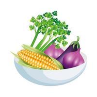 Sellerie Knoblauch Auberginen und Mais Gemüse Vektor Design