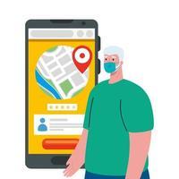 Mann Client mit Maske und Smartphone mit GPS-Markierungsvektorentwurf