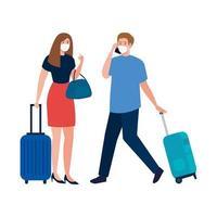 Frau und Mann mit medizinischen Masken und Taschen Vektor-Design