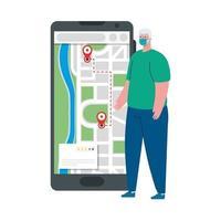 Mann Client mit Maske und Smartphone mit GPS markiert Vektor-Design