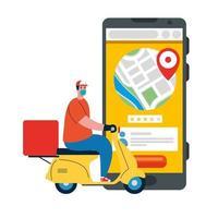 Smartphone und Lieferbote mit Maske Motorrad und Box Vektor-Design