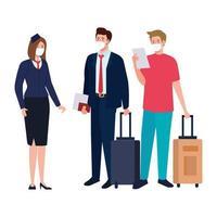 Stewardess und Männer mit medizinischen Masken und Taschen Vektor-Design
