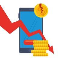 gebrochene Dollarmünzen und verringern Pfeil des Konkursvektordesigns