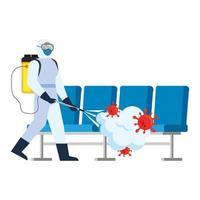 Mann mit Schutzanzug sprüht Flughafenstühle mit Covid 19 Virus Vektor Design