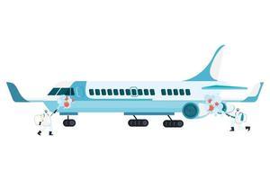 Männer mit Schutzanzug sprühen Flugzeug mit Covid 19 Virus Vektor Design