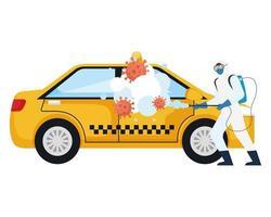 Mann mit Schutzanzug sprüht Taxiauto mit covid 19 Virusvektorentwurf vektor