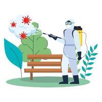 Mann mit Schutzanzug, der Parkbank mit covid 19 Virusvektorentwurf besprüht vektor