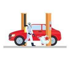 Mann mit Schutzanzug sprüht Auto mit covid 19 Virusvektorentwurf