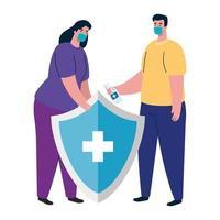 Frau und Mann Avatar mit medizinischer Maske und Schild Vektor-Design vektor