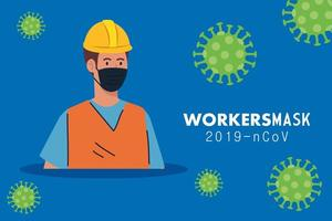 Arbeiterbau mit medizinischer Maske gegen Covid 19