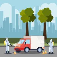 LKW-Auto-Desinfektionsservice, Prävention Coronavirus Covid 19, Oberflächen im Auto mit einem Desinfektionsspray reinigen, Personen mit Biohazard-Anzug vektor