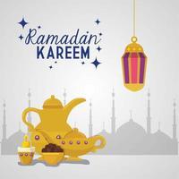 Islamische Karte Ramadan Kareem, goldene Laternen, die mit goldenen Gegenständen hängen