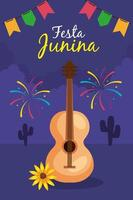Festa Junina mit Gitarre und Dekoration, Brasilien Juni Festival, Feier Dekoration vektor