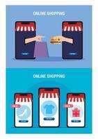 Smartphones Hände halten Tasche Kreditkarte und Icon Set Vektor-Design vektor