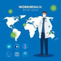 läkare som bär medicinsk mask mot 2019 ncov med medicinska ikoner och bakgrundsvärldsplanet vektor