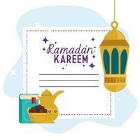 ramadan kareem islamiskt kort, gyllene lyktor hängande med gyllene föremål vektor