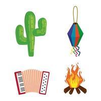 festa junina med festival, Brasilien juni festival, ikoner set vektor