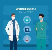 läkare med sjukvårdare som bär medicinsk mask mot 2019 ncov med medicinska ikoner vektor