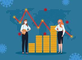 sekreterare som bär medicinsk mask mot ncov 2019, med statistik över ekonomisk påverkan vektor