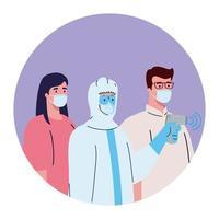 Desinfektion, Person im Virenschutzanzug, mit digitalem berührungslosem Infrarot-Thermometer, Personen Temperatur prüfen vektor