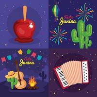 Festa Junina Set Karten, Brasilien Juni Festival mit Dekoration