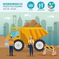 Arbeiter Bau tragen medizinische Maske während Covid 19 mit Schutzausrüstung