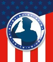 minnesdag, som hedrar alla som tjänade, med hälsande armé soldat siluett vektor
