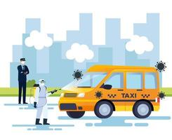 Desinfektionsservice für Taxis, Vorbeugung gegen Coronavirus Covid 19, Oberflächen im Auto mit einem Desinfektionsspray reinigen, Person mit Biogefährdungsanzug vektor