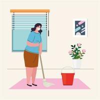 zu Hause bleiben, Frau mit medizinischer Maske, Innenreinigung des Hauses, Quarantäne oder Selbstisolation vektor