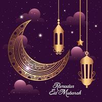 Ramadan Eid Mubarak mit Mond und goldenen Laternen hängen Dekoration vektor