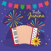 festa junina med dragspel och dekoration, Brasilien juni festival, fest dekoration vektor