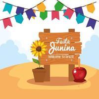 Festa Junina mit Holzschild und Dekoration, Brasilien Juni Festival vektor