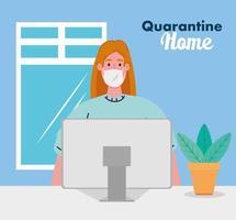 Bleib zu Hause, arbeite zu Hause, Frau schütze dich, arbeite zu Hause, bleibe während des Coronavirus in Quarantäne zu Hause vektor