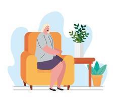 Bleib zu Hause, Frau im Wohnzimmer, Quarantäne oder Selbstisolation vektor
