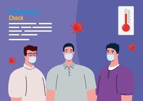 Männer, die eine medizinische Maske mit hohem Fiebersymptom von Coronavirus covid 19 bei der Symptomprüfung tragen vektor