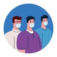 Männer mit medizinischer Schutzmaske gegen Covid 19 vektor