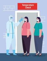 Desinfektion, Person im Virenschutzanzug, mit digitalem berührungslosem Infrarot-Thermometer, Frauen in Kontrolltemperatur vektor