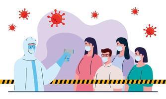 Desinfektion, Person im Virenschutzanzug, mit digitalem berührungslosem Infrarot-Thermometer, Personen in Kontrolltemperatur vektor