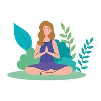 Frau meditieren, Konzept für Yoga, Meditation, entspannen, gesunder Lebensstil in der Landschaft vektor