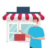 Nach der Quarantäne wieder geöffnet, Mann mit Etikett der Wiedereröffnung des Geschäfts, wir sind wieder geöffnet, Ladengeschäft Fassade