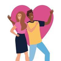 lyckliga par med hjärtabakgrund, hälsosam livsstil, firar semester