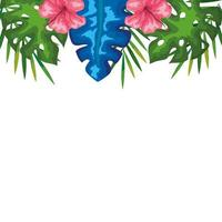 Dekoration von Hibiskusblüten mit Zweigen und Blättern, tropische Natur, Frühling Sommer botanisch vektor