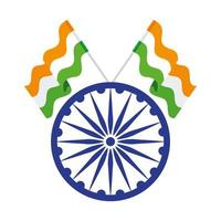 blaues indisches Symbol des Ashoka-Rades, Ashoka-Chakra mit Flaggen Indien vektor