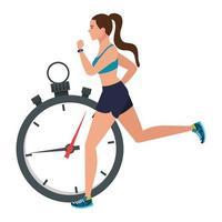 kvinna som kör med stoppur, kvinnlig idrottare med kronometer på vit bakgrund vektor