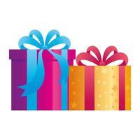 Geschenkboxen auf weißem Hintergrund vektor