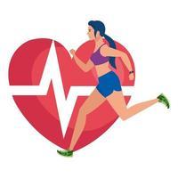 kvinna som kör med hjärtpuls på bakgrund, kvinnlig idrottare med kardiologihjärta vektor