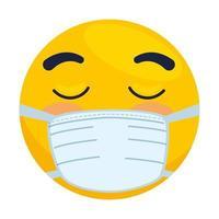 Emoji mit geschlossenen Augen mit medizinischer Maske, gelbes Gesicht mit geschlossenen Augen unter Verwendung des weißen Symbols für chirurgische Masken vektor